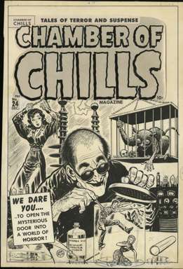 LEE ELIAS - CHAMBER of CHILLS #24 Orig Cvr art BONDAGE!