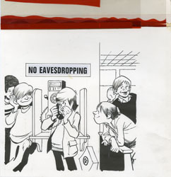 BOB CLARKE - MAD #215 SIGNS: NO EAVESDROPPING ORIG ART