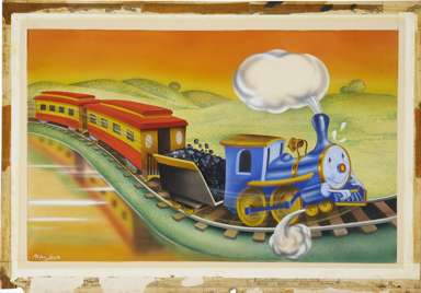 ANTON LOEB -LITTLE TRAIN THAT WON A MEDAL ILLO ORIG ART