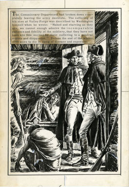 FRED RAY - VALLEY FORGE PG 6 ORIG ART GEO. WASHINGTON