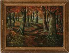 EMERY (E.A.) FILLEAU - OAKS IN AUTUMN ORIG PAINTED ART