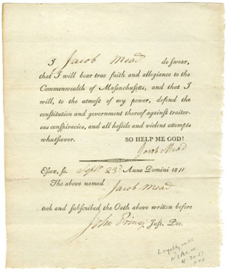 1811 COMMONWEALTH OF MASSACHUSETTS LOYALTY OATH DOC
