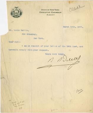 NY GOVERNOR BENJAMIN BARKER ODELL SIGNED LETTER (1901)