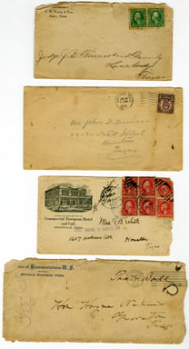 TEXAS VINTAGE DOCUMENT - FOUR ENVELOPES AND STAMPS 1900