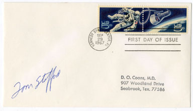 1ST DAY ISSUE SPACE STAMP/ENVELOPE SIGNED TOM STAFFORD