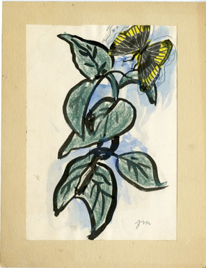 JOSEPHINE MAHAFFEY - BUTTERFLY/LEAVES ORIG ART WATERCLR