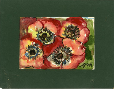 JOSEPHINE MAHAFFEY - FOUR RED FLOWERS Original Watercolor image