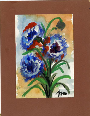 JOSEPHINE MAHAFFEY - BLUE FLOWERS ORIG ART WATERCOLOR