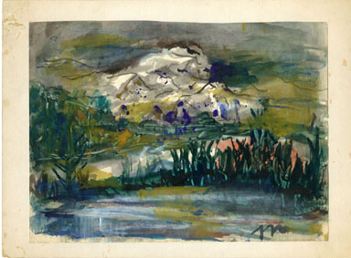 JOSEPHINE MAHAFFEY - LANDSCAPE/POND ORIG ART WATERCOLOR