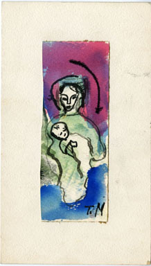 JOSEPHINE MAHAFFEY - MOTHER & CHILD Original Watercolor image