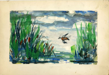 "JOSEPHINE MAHAFFEY -""LAKE WORTH"" with DUCK Original Watercolor image"