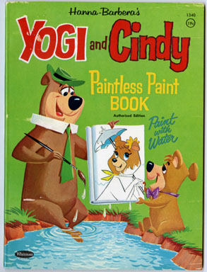 YOGI BEAR & CINDY PAINTLESS PAINT BOOK (Whitman, 1961)