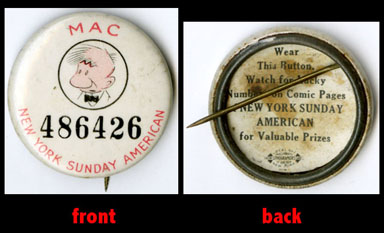 TILLIE THE TOILER: MAC PINBACK BUTTON / NYSA 1930s