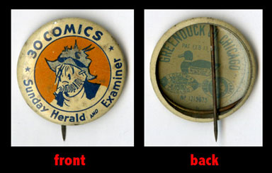 PETE THE TRAMP PINBACK BUTTON  1930s SUNDAY HERALD EXAM