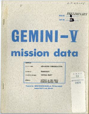 NASA - GEMINI V MISS. DATA TRANSCRIPT 1965 GORDO COOPER