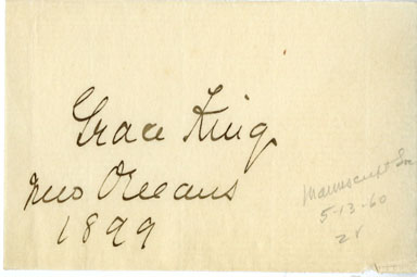 GRACE KING AUTOGRAPH (1899) AMERICAN AUTHOR Louisiana