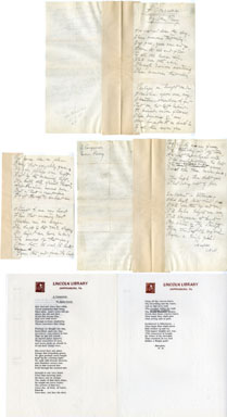 "NORA PERRY (AUTHOR) - HANDWRITTEN POEM ""THE CONQUEROR"""