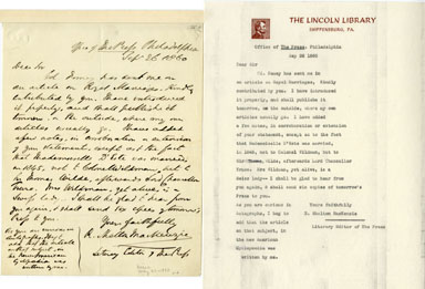 R. SHELTON MACKENZIE (AUTHOR) - HANDWRITTEN LETTER 1860