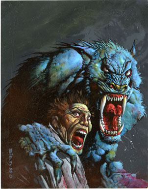 SIMON BISLEY - WEREWOLF ATTACK PAINTING ORIG ART 1995