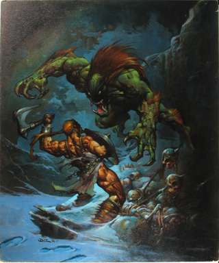 SIMON BISLEY - MONSTER VS. BARBARIAN PAINTING ORIG ART