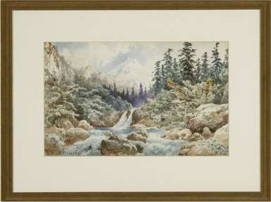 AUGUST LOHR - Watercolor  LANDSCAPE dated 1896
