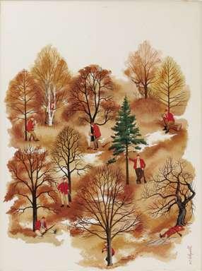 ARNOLD C. HOLEYWELL - FIELD & STREAM CVR ORIG ART 1951