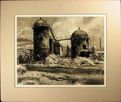 "PETER HELCK - ""GRAIN SILOS"" OIL PAINTING - 1960"