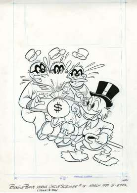UNCLE SCROOGE #182 COVER ORIGINAL ART Beagle Boys 1981