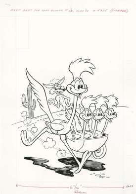 BEEP! BEEP! THE ROAD RUNNER #90 ORIGINAL COVER ART 1980