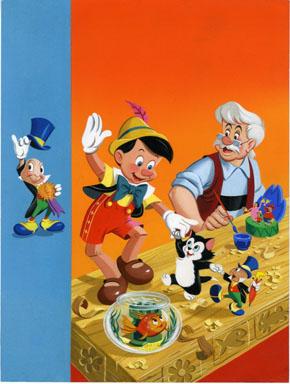 DISNEY'S PINOCCHIO COLORING BOOK COVER ORIG ART Jiminy