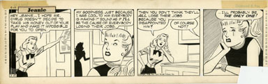 GILL FOX - JEANIE DAILY STRIP ORIG ART 2-17-53 JOBS