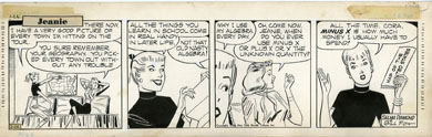 GILL FOX - JEANIE COMIC STRIP DAILY ORIG ART 2-26-53