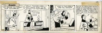 GILL FOX - JEANIE COMIC STRIP DAILY ORIG ART 2-28-53