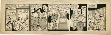 GILL FOX - BERNIE BLOOD DAILY STRIP ORIG ART B&F 1945