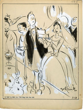 GALBRAITH - SIDE GLANCES DAILY ORIG ART - WEDDING BRIDE