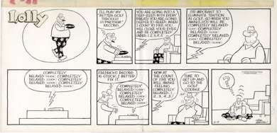 PETE HANSEN - LOLLY SUNDAY STRIP 2-9-75 ORIGINAL ART