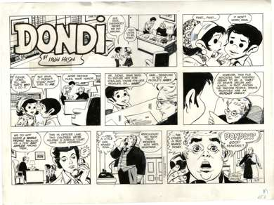 IRWIN HASEN - DONDI SUNDAY STRIP ORIGINAL ART 2-9-75