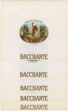 BACCHANTE HABANA set of 5 CIGAR BOX LABELS c1930 NR