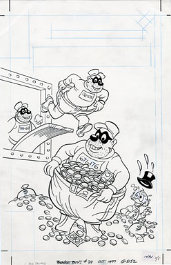 BEAGLE BOYS #39 ORIG COVER ART 1977 UNCLE SCROOGE GOLD