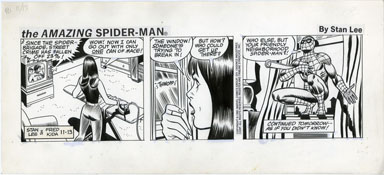 FRED KIDA - SPIDER-MAN DAILY ORIG ART 11-13-81 SPIDEY
