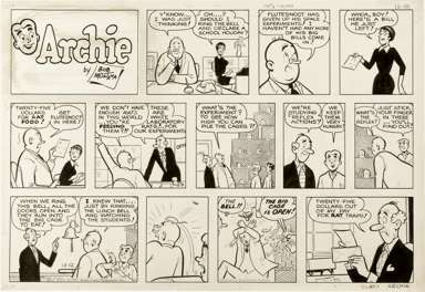 BOB MONTANA - ARCHIE SUNDAY STRIP ORIG ART 12-12-71