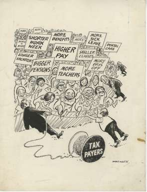 WIN MORTIMER - Orig EDITORIAL Art - UNIONS vs TAX PAYER