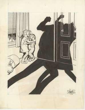 WIN MORTIMER - Orig EDITORIAL Art - SPOUSAL ABUSE 1985