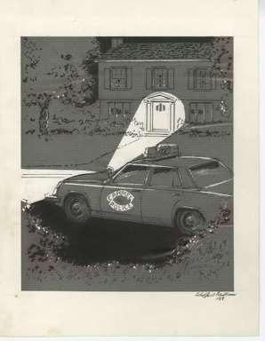 WIN MORTIMER - Orig EDITORIAL Art - CARMEL POLICE 1988