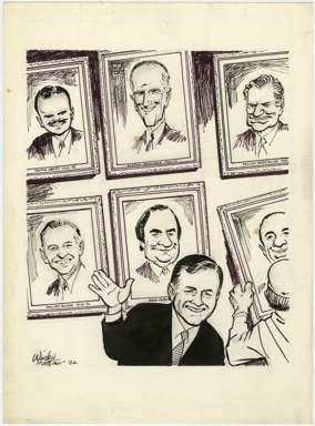WIN MORTIMER - Orig EDITORIAL Art - NY GOVERNORS 1982