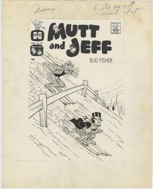WARREN KREMER - Orig Cover Art MUTT & JEFF #123 - SKI