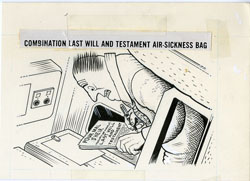 AL JAFFEE -MAD #198 LAST WILL & TEST. AIRSICK BAG ART