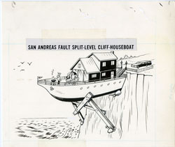 AL JAFFEE -MAD #198 CLIFFSIDE SPLIT-LEVEL HOUSBOAT ART