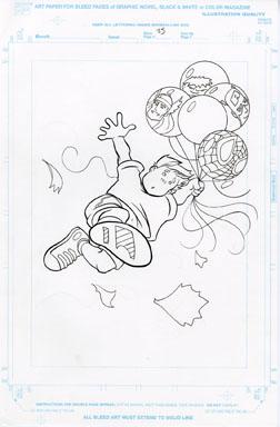 CRAIG ROUSSEAU -GEN X COLORING BOOK p25 ORIG ART SPIDEY