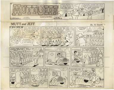 AL SMITH - MUTT AND JEFF SUNDAY ORIGINAL ART 8-21-66